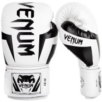Перчатки боксерские venum elite boxing gloves - white/black
