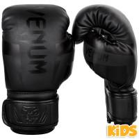 Детские перчатки боксерские venum elite boxing gloves - neo black