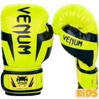 Детские перчатки боксерские venum elite boxing gloves - neo yellow