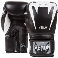 Боксерские перчатки venum giant 3 boxing gloves - black white - nappa leather