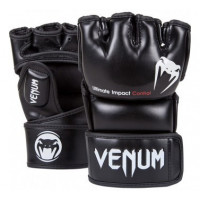 Перчатки mma venum impact mma gloves - skintex leather black