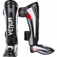 Защита ног venum elite shin guard black/red/grey