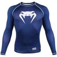 Рашгард venum contender 3.0 long sleeves - navy blue/white