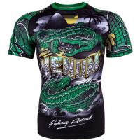 Рашгард venum crocodile black/green short sleeves