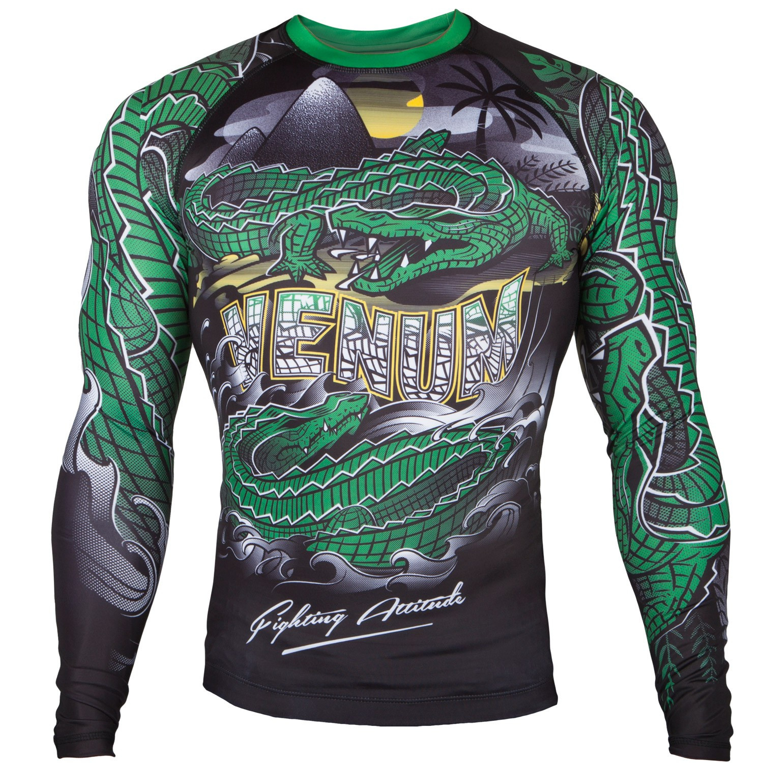 Рашгард venum crocodile black/green long sleeves