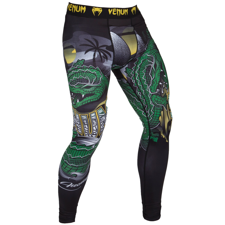 Спортивные штаны venum crocodile spats - black/green