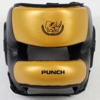Шлем боксерский ecos punch black-gold bumper