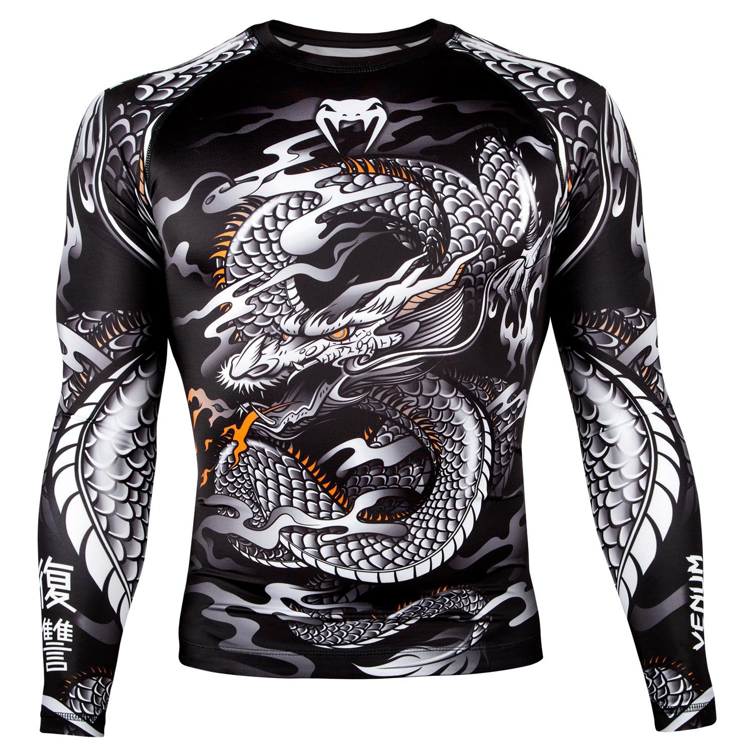 Рашгард venum dragon long sleeves black/white