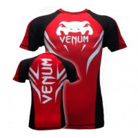 Venum Electron 2.0 Rashguard - Red - Short Sleeves