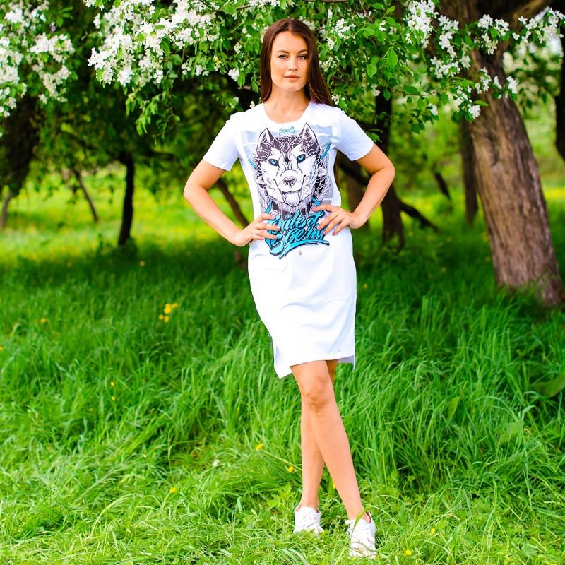Футболка-платье женская mysiberia хаски белая