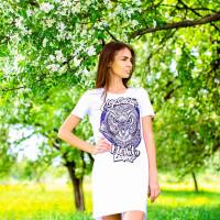 Футболка-платье женская mysiberia сова белая