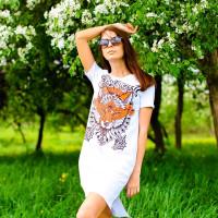 Футболка-платье женская mysiberia лиса белая