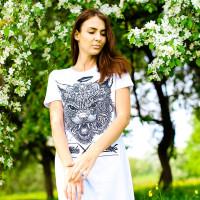 Футболка-платье женская mysiberia сибирский кот белая