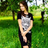 Футболка-платье женская mysiberia сибирский кот черная
