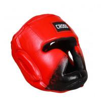 Шлем боксерский соревновательный cross blue кожанный