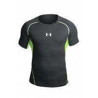 Рашгард under armour heat gear short sleevels black green 05