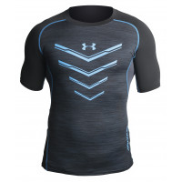 Рашгард under armour heat gear short sleevels black blue 05