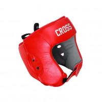 Шлем боксерский соревновательный cross red кожанный