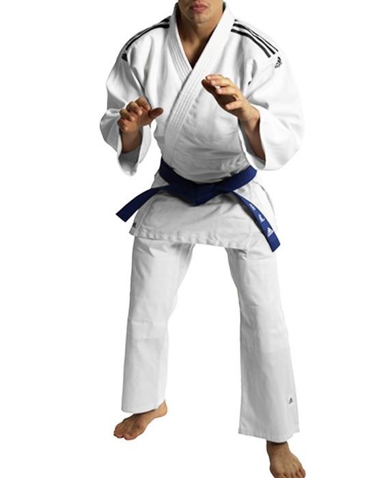 Кимоно для дзюдо adidas club белое с черными полосками