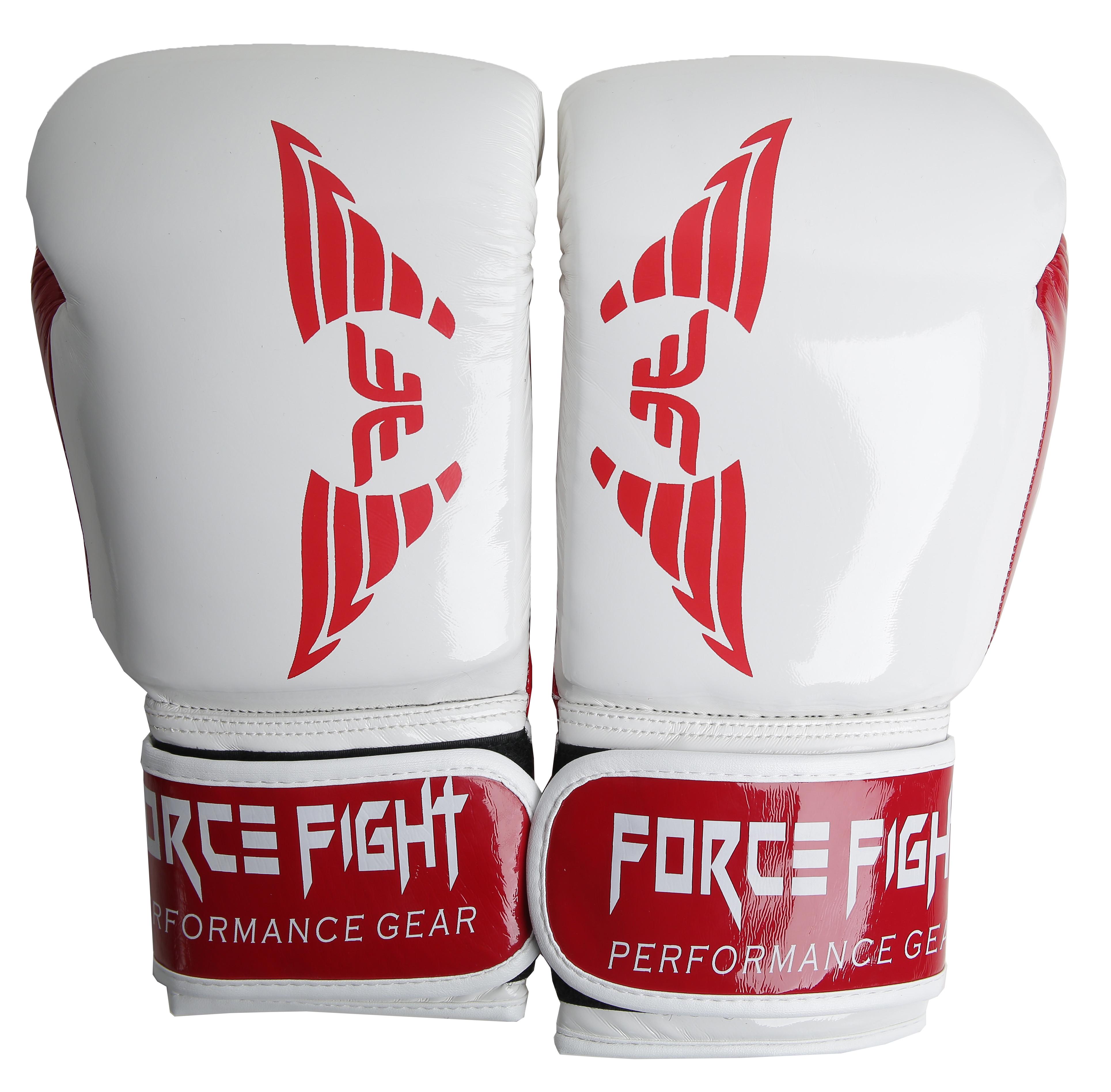 Боксерские перчатки force fight white red
