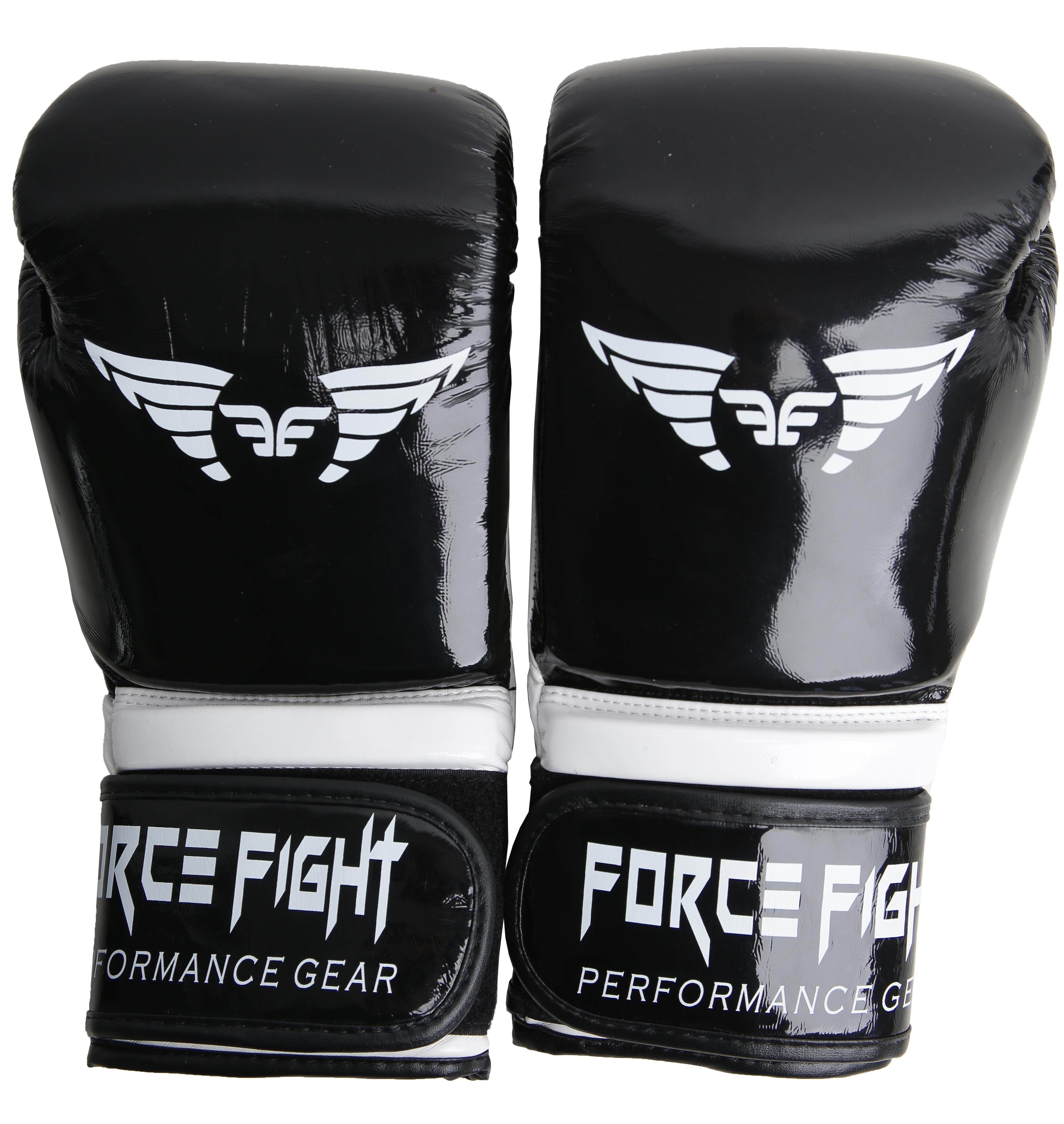 Боксерские перчатки force fight black white