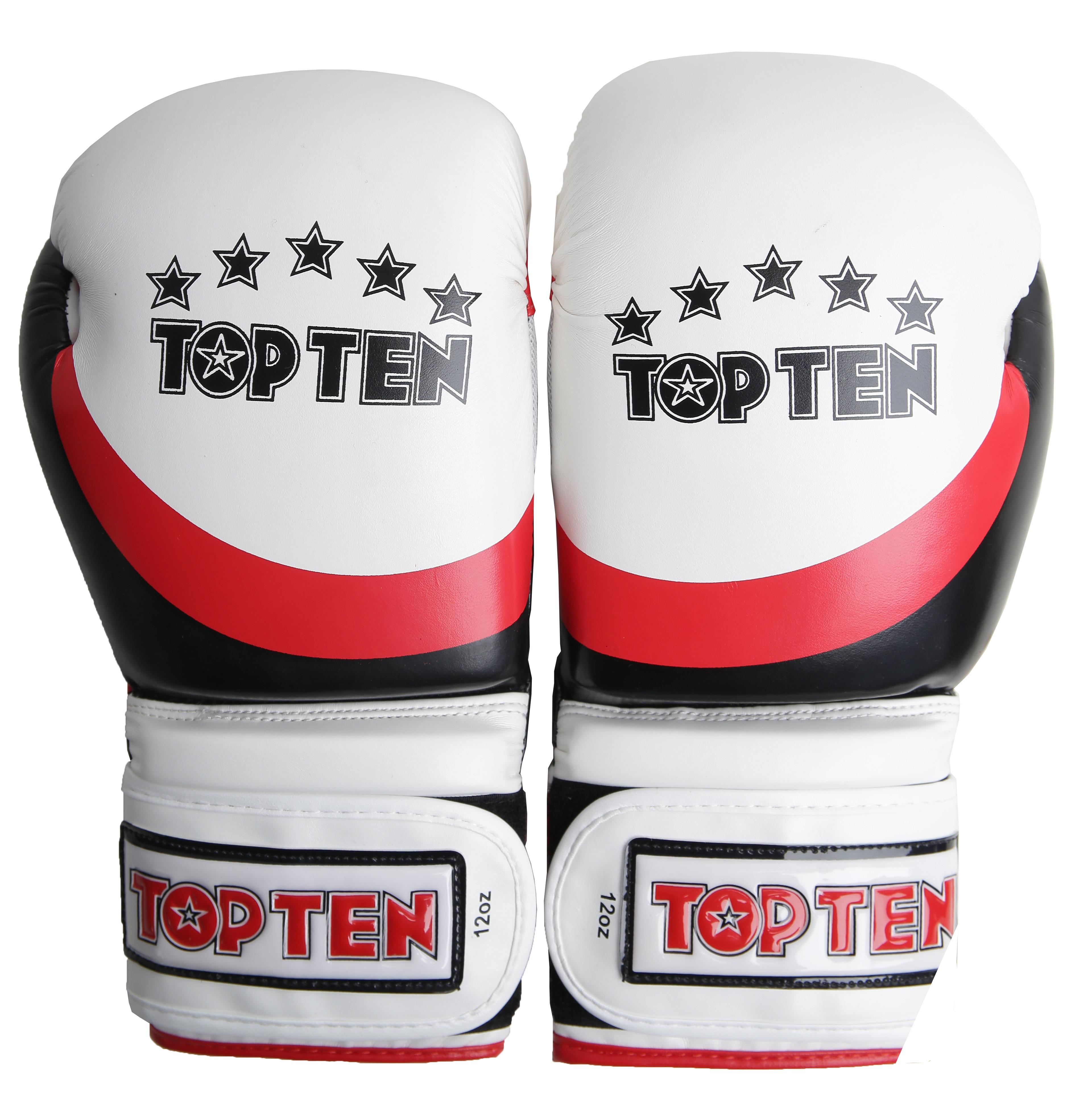Боксерские перчатки top ten perfect white red black