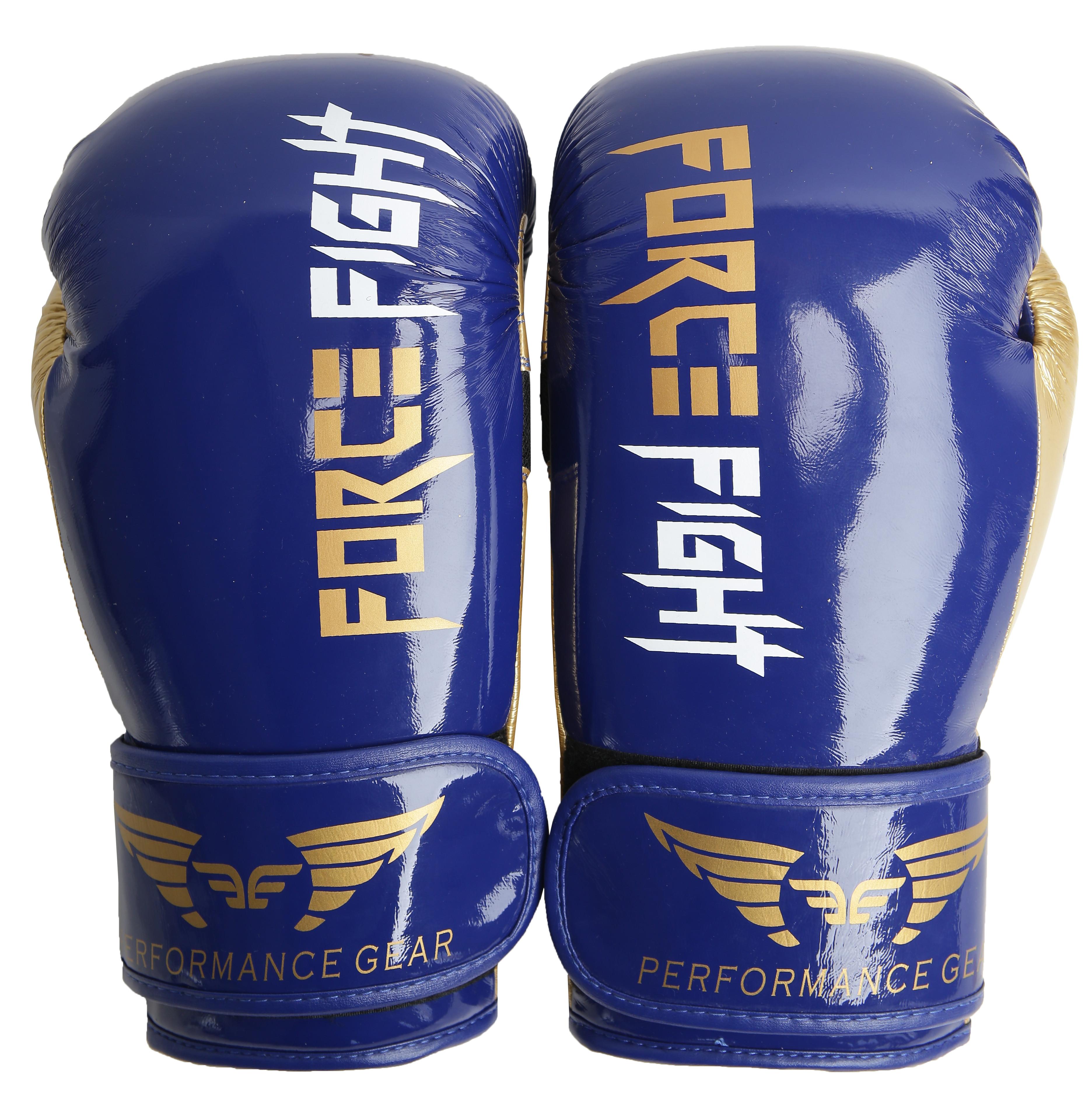 Боксерские перчатки force fight blue gold