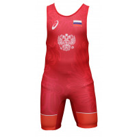 Борцовское трико asics wrestling teamwear singlet red