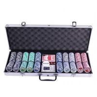 Покерный набор на 500 фишек с номиналом в металлическом кейсе