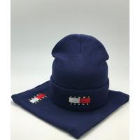 Комплект шапка и бафф tommy hilfiger blue