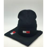 Комплект шапка и бафф tommy hilfiger black