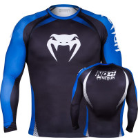 Рашгард VENUM NO GI IBJJF APPROVED - LONG SLEEVES - BLACK/BLUE