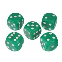 Кости игральные пластиковые, 20мм, 1 шт, цвет зеленый