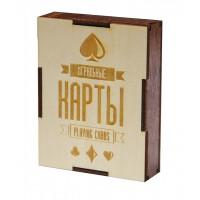 """Подарочная коробка для хранения игральных карт """"Карты игральные"""" Эко + венге"""