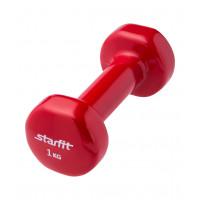 Гантель виниловая DB-101 1 кг, красная