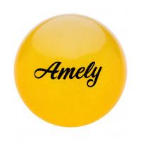 Мяч для художественной гимнастики AGB-102, 15 см, желтый, с блестками