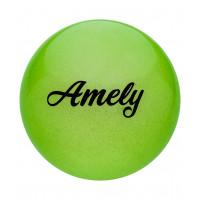 Мяч для художественной гимнастики AGB-102, 15 см, зеленый, с блестками