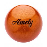 Мяч для художественной гимнастики AGB-103 15 см, оранжевый, с насыщенными блестками