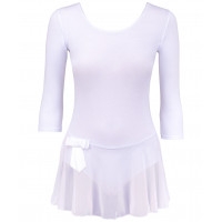 Купальник гимнастический AA-181, рукав 3/4, юбка сетка, хлопок, белый