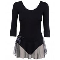 Купальник гимнастический AA-181, рукав 3/4, юбка сетка, хлопок, черный