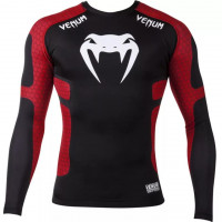 Рашгард venum absolute long sleeves black red