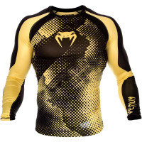 Рашгард venum technical compression t-shirt - black/yellow - long sleeves