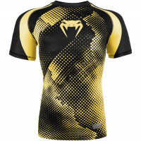 Рашгард короткий рукав venum technical compression t-shirt - black/yellow